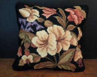 Vintage Needlepoint Frenchie Floral and Velvet Pillow / Black Velvet and Flower Square Pillow