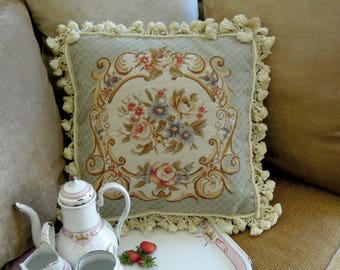 Vintage / Antique Aubusson Tapestry Pillow / Frenchie Tapestry and Velvet Pillow / Cotton Fringe / Down Filled
