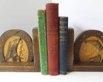 Vintage Carved Wood BOOKENDS, Carved FACE Bookends, Horseshoe Bookends, Vintage Bookends, French Man with Beret, French Peasant Woman