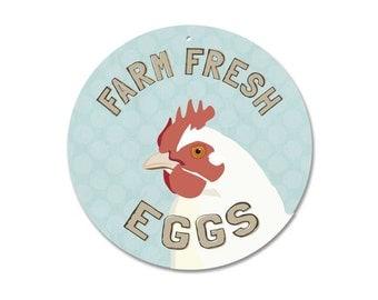 "Farm Fresh Eggs Chickens Coop Sign 9"" round (light blue"