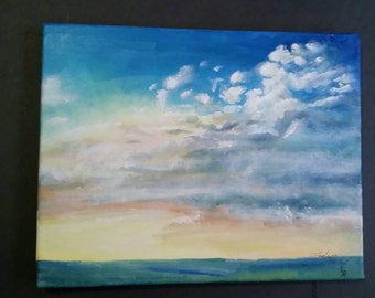 "Original Sky Oil Painting 11""x14"" / nature painting / sky / clouds"
