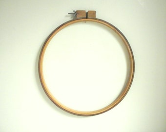 Wood Embroidery Hoop | 14 Inch Round Wooden Quilting Frame | Vintage Wall Decor | Vintage Craft Supplies