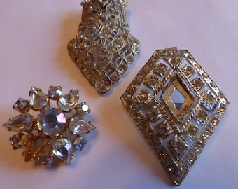 Three Beautiful Old Rhinestone Destash Pieces
