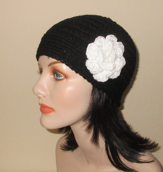 Black Beanie with Attached White Crocheted Flower, Black Hat, Cold Winter Accessory, Winter Hat, Flower Beanie, Flapper Hat