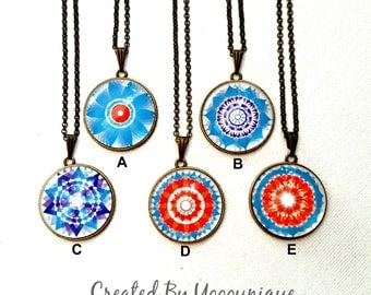 Collection Handmade Kaleidoscope Necklace Glass Dome Cabocbon Pendant/Jewelry Bronze Necklace Gift NC646(A-E)#346