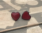 Red heart kiln fired enamel post earrings