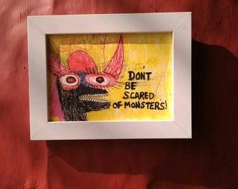 Monster illustration, original artwork, blank card