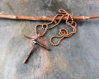 Copper Cross Pendant and Chain, Copper Cross, Old Rugged Cross, Copper Ball Chain, Cross Pendant, Rustic Handcrafted, Artisan Jewelry