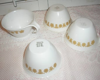 Three Butterfly Gold Corelle Corning Hook Handle cups /one Sugar