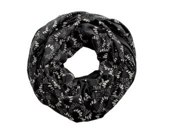 INFINITY SCARF - Screen Printed - Gray Spirals on Black