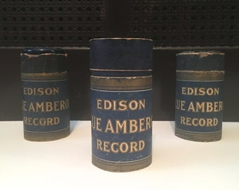 set of 3 antique Edison Blue Amberol Records - recording cylinders + canisters, 1912-1929