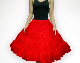 """Red 26"""" 50s Retro Underskirt Swing VTG Petticoat Fancy Net Skirt Rockabilly Full Vol Size xS-M"""