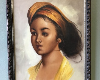 Vintage Painting of Beautiful Young Girl