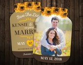 Sunflower Save the Date Cards, Burlap Mason Jar shaped cards, Photo Save the dates, engagement -- 10 die cut printed cards with envelopes