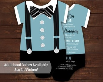 10 Bowtie Baby Shower Invitations, Blue Suspenders invitation -- Die Cut shaped -- Double sided in any color