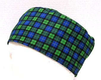 Mens Scrub Hat or Surgical Cap, Blue and Green Plaid