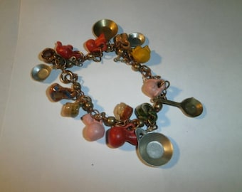 Vintage Bracelet, Pottery Clay, Plastic, Metal Charms, 1900