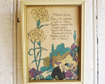Vintage Mother Motto - Framed 1930s Motto - Art Deco - NRA Code Seal - Mother's Day Gift - Mother and Daughter - Cottage Garden