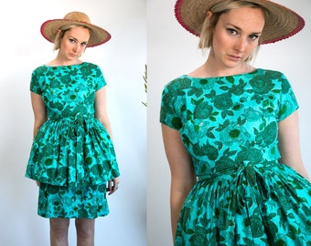 Vintage 1950's Blue Roses Short Sleeve Dress with Tulle Women's Size Medium Retro/Sweet Summer