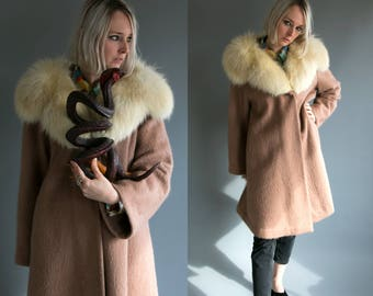 Vintage 1960's Fox Fur Collar Wool Swing Coat / Women's Large / High Fashion Retro Luxury by Stroock Distinguished Woolens