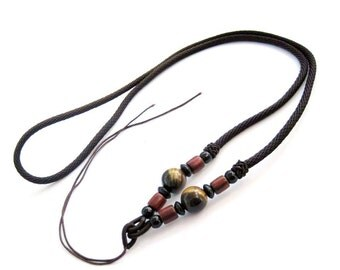 1Pc Silk Necklace Cord  With Tiger Eye Gem Bead  ja662