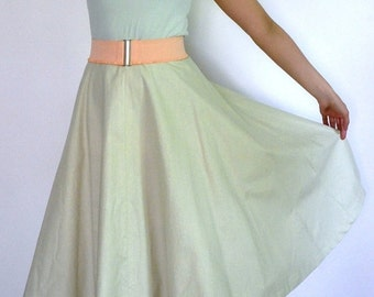 Season sale SALE 50s style circle skirt in light green cotton, size L / waist 33 inches