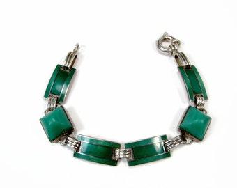 Art Deco Sterling Silver Chrysophase & Enamel Bracelet