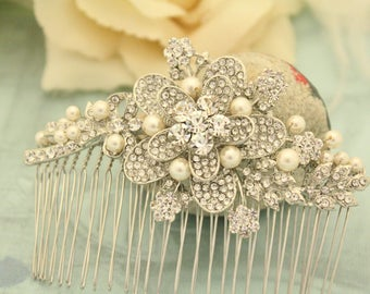 Rhinestone Hair Jewellery,Pearl Hair Clip,Wedding hair comb,Bridal hair accessories,Swarovski Hair accessories,Pearl headpiece,Bridal comb