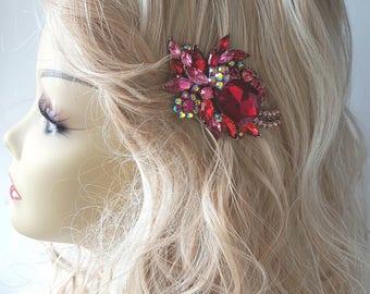 Red  Hair  Comb bridal headpiece Rhinestone Bridal Hair Comb Weddings  wedding hair piece,bridal hair piece,wedding hair accessories,bridal