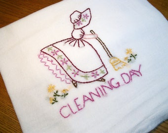 Dish (Tea) Towel with Sun Bonnet Sue Design Hand Embroidery Flour Sack Dish Towel Cleaning Day