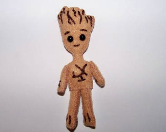 """Micro FabsTM 3.5"""" tall felt Baby Groot doll with a hand-made gift bag"""