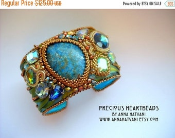 SPRING SALE 15% OFF Shibori Silk Bead Embroidery Bracelet Cuff Teal Aquamarine - made to order- Green Lime Gold  Bronze  bead embroidered  -