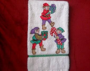 Appliqued Towel, Appliqued Christmas Towel, Christmas Elves Hand Towel, Appliqued Bathroom Hand Towel, Christmas Kitchen Hand Towel