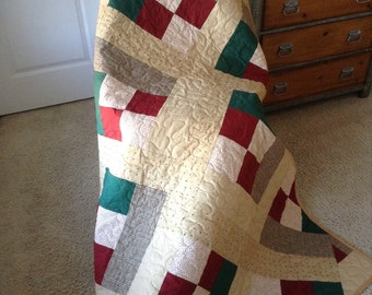 """Forrest Green/Red/Cream 56""""x71.5"""" - Moda /Henry Glass/Holly Taylor Fabrics -Contemporary/Modern Quilt - Ready to Ship"""