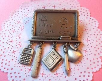 Vintage Signed JJ Pewter Pin Brooch, Hanging Charms, Chalkboard Calculator Ruler Pencil Apple Math Book, Gift for Teacher