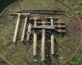 Large lot of 10 Blacksmith's hammers and one set of tongs from forge clearance, lot6