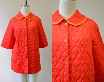 1960s Gaymodes Red Quilted Bed Jacket