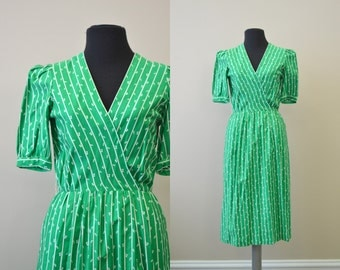 1980s Tanner Kelly Green Cotton Dress