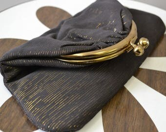 1960s Black and Gold Fold-over Clutch