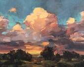 1981 - 5x7 inch ORIGINAL acrylic sunset painting