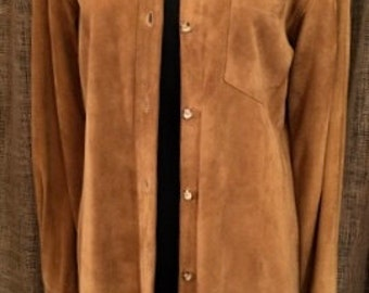 Vintage Lauren Caramel Suede Shirt Dress Size M
