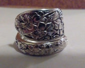 Spoon Ring size 8 1/2 wrap around style Narcissus pattern slightly adjustable free shipping 13