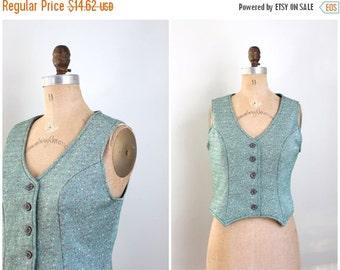 24 HOUR SALE vintage 1970s fitted ladies polyester vest - dapper vest / 70s vest - forest green & red vest / Christmas holiday vest