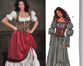Butterick 3906 Renaissance Wench Medieval Maiden Tavern Costume Sewing Pattern Steampunk Size 6, 8, 10