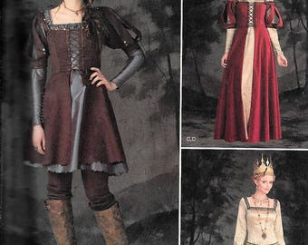 Simplicity 1773 / 0866 Medieval Renaissance Princess Hunting Dresses Queen Costume Sewing Pattern UNCUT Size 6, 8, 10, 12, 14
