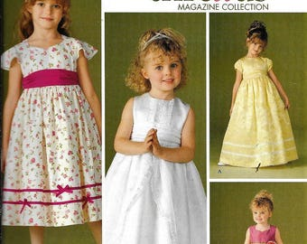 Simplicity 4647 Girls Special Occasion Flower Girl Dress Pageant Formal Gown Sewing Pattern UNCUT Size 3, 4, 5, 6