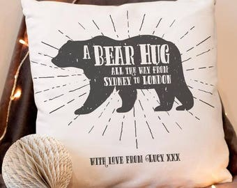 Personalised Cushion A Bear Hug From Location Gift - Couples Gift, Fathers Day Gift, Custom Cushion, Luxury Faux Suede,