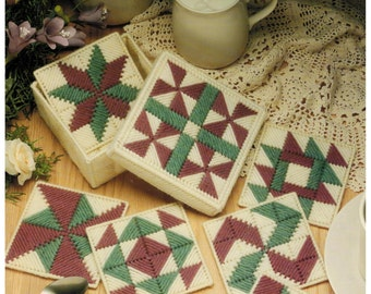 Leisure Arts Leaflet 1173, Patchwork Coasters in Plastic Canvas