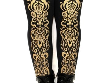 Art Nouveau Printed Tights Large Gold on Black 80 D Mucha Pattern Street Style Dolly Kei Lolita