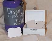 Beautiful Prayer Jar - Purple, Grey and White with White Wooden Box to hold 25 Note Cards